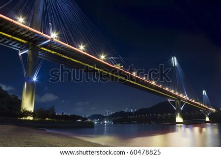 Ting Kau Bridge in Hong Kong at night - stock photo