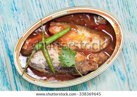 tinned fish,,Mackerel filet in Tomato sauce. - stock photo