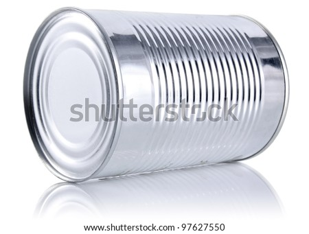 tinned food isolated on white background - stock photo