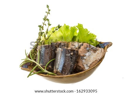 Tinned Pacific saury with herbs