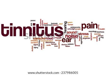 Tinnitus word cloud concept - stock photo