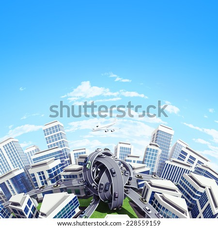 Tinny planet in which all the roads are tied into knots. Aerial view. - stock photo