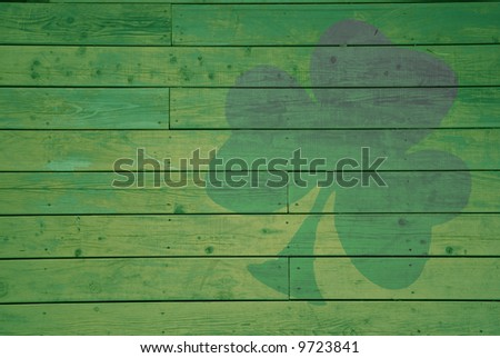 Tinted Shamrock on a Wall - stock photo
