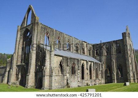 TINTERN, MONMOUTHSHIRE/UK - April 23, 2015. Tintern Abbey (ruins of Cistercian Abbey), Tintern, Monmouthshire, Wales, UK