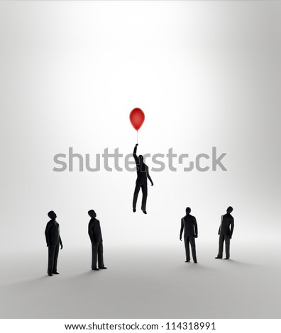 Tiny abstract man flying away with the help of a balloon  - innovation and advantage in business - stock photo