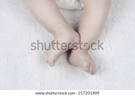 Tiny baby feet - stock photo