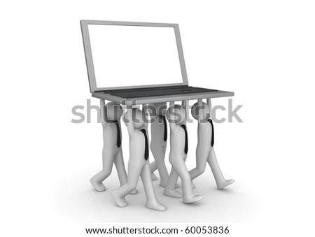 Tiny businessmen carrying laptop - Crowds collection - stock photo