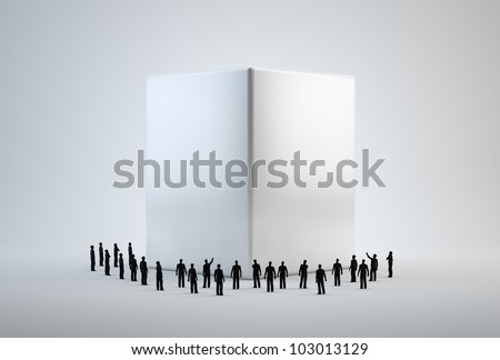 Tiny 3d people standing around a white cube - stock photo