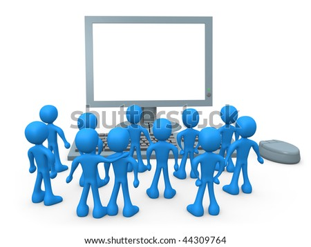 Tiny 3d people watching something on a computer screen .