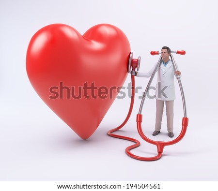 Tiny doctor examining a heart with a stethoscope - stock photo