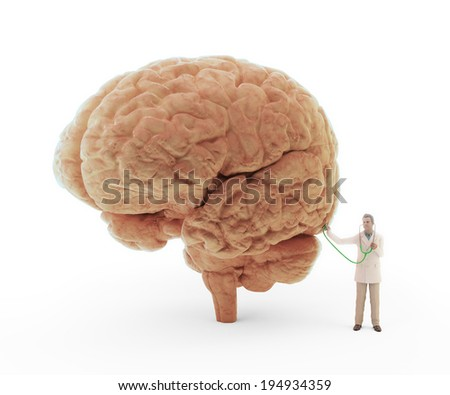 Tiny doctor with a stethoscope examining a brain - stock photo
