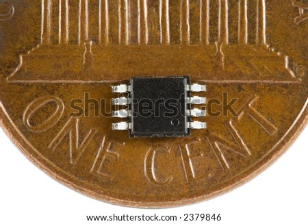 Tiny electronic chip on penny.  Extremal close-up. With path.