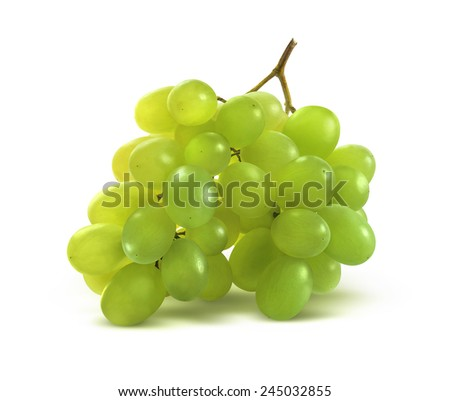 Tiny green grapes bunch isolated on white background as package design element - stock photo