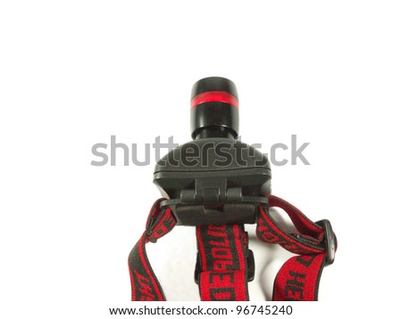 Tiny head flash-light isolated on white background - stock photo