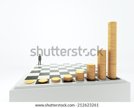 Tiny man standing on a chessboard with growing height coins stacks - exponential growth and compound interest concept - stock photo