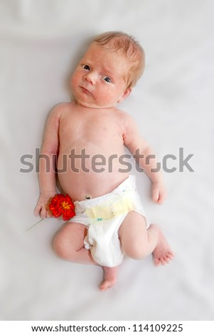Tiny naked newborn baby in diapers holding orange flower of garden. Congratulations to the Mother's Day.