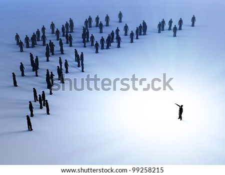Tiny people listening to a leader - stock photo