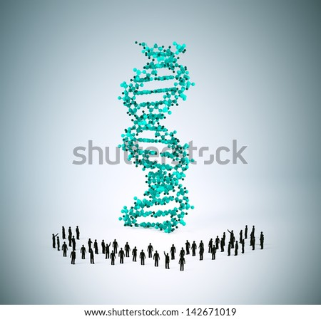 Tiny people standing around a DNA strand - stock photo