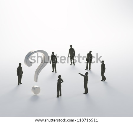 Tiny people trying to solve a problem - stock photo
