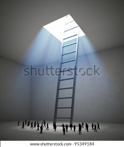 Tiny people walking in the direction of a ladder leading up to the light - stock photo