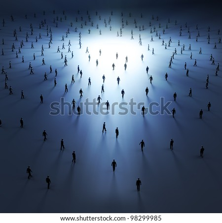 Tiny people walking into the light - stock photo