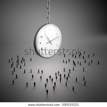 Tiny people walking to a large clock - stock photo