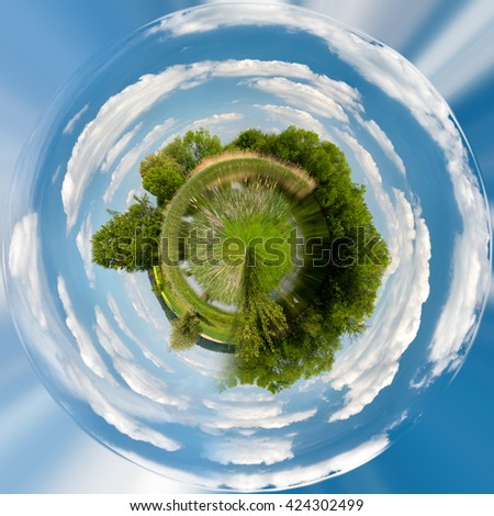 Tiny planet of Beautiful summer rural landscape with small lagoon. Rural landscape with pond. Spring landscape. Green czech countryside. Beautiful highland vysocina european countryside - stock photo