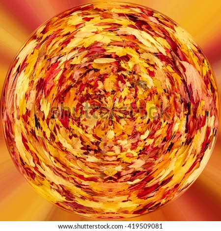 tiny planet of Fall orange autumn leaves. Wcology concept. Fall concept planet - stock photo
