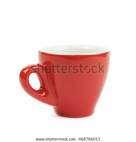 Tiny red espresso ceramic cup isolated over the white background