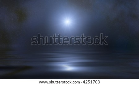 Tiny stars and one brightly light star against night sky reflecting off water. Calming. - stock photo