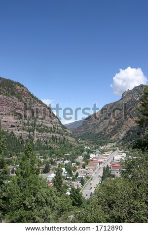 tiny town of Ouray in Colorado - stock photo