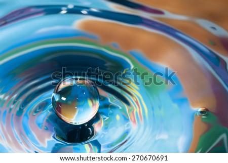 Tiny water drop splash - stock photo