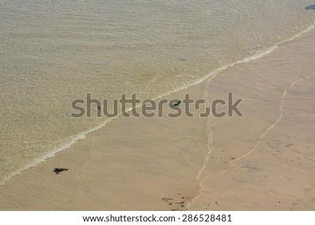 Tiny wave on sandy beach in Cornwall, England - stock photo