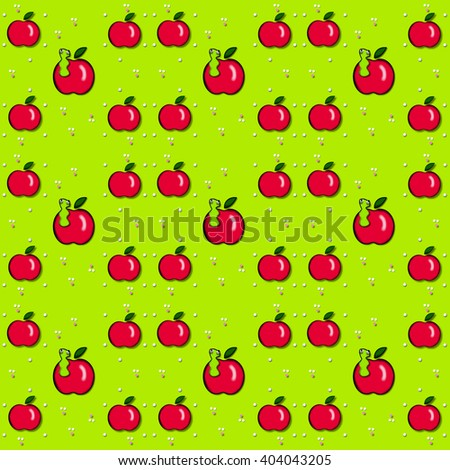 Tiny white dots sit besides red apples.  Worm peeks out of some of the apples.  Green background surrounds all. - stock photo