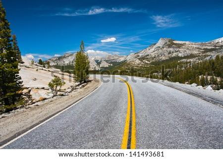 Tioga Pass Road in Yosemite National Park,California - stock photo