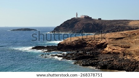 Tip of Arinaga and lighthouse, Gran canaria, Canary islands - stock photo