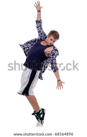 tip toe dancer posing for the camera on white background - stock photo