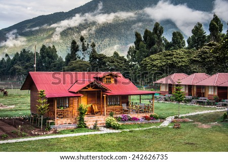 Tipical house in Oxapampa, Peru. - stock photo