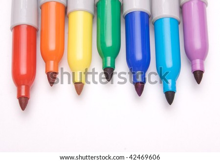 Tips of colored markers - stock photo