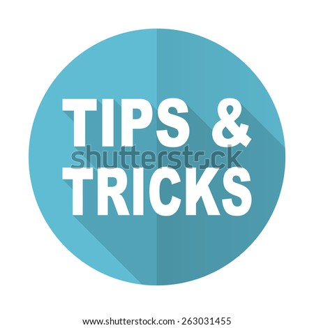 tips tricks blue flat icon   - stock photo