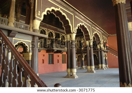 Tipu Sultan's Palace, teak wooden pillars, Bangalore, built in 1791 - stock photo