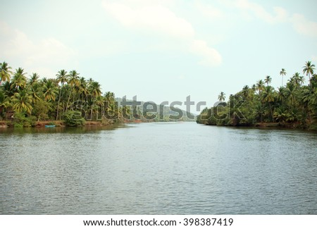 Tiracol river at sunny day, Goa India - stock photo