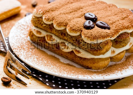 Tiramisu cake, Homemade tiramisu dessert close-up, Traditional Italian cuisine, Selective focus - stock photo