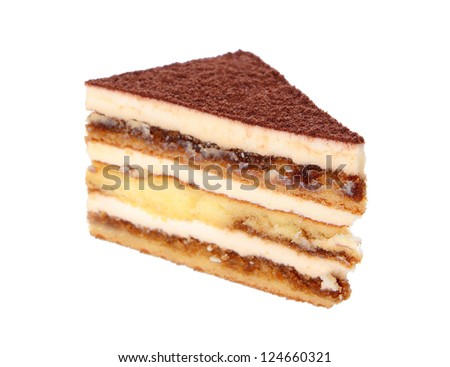 tiramisu cake isolated on white background - stock photo