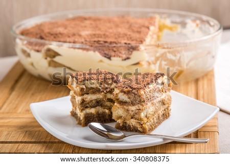 Tiramisu Cake On Plate Close Up - stock photo