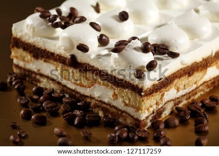 Tiramisu Cake with coffee beans - stock photo