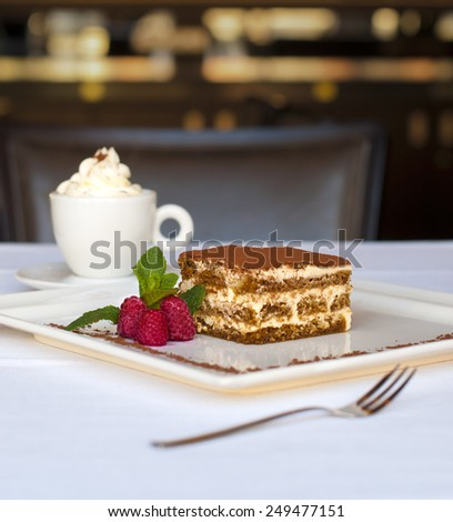 Tiramisu cake with fruits - light Italian dessert - stock photo