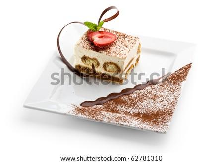 Tiramisu - Classical Dessert with Cinnamon and Coffee. Garnished with ...