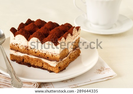 Tiramisu - Classical dessert with mascarpone and coffee - stock photo