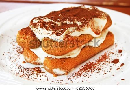 Tiramisu dessert on a plate - stock photo
